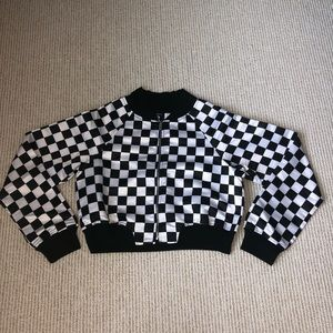 Checkered cropped women's bomber jacket size small